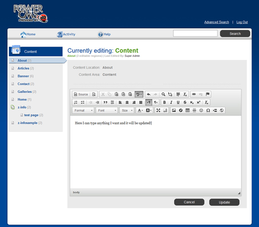 Savio Designs PowerCMS Edit Window