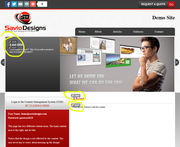 Savio Designs PowerCMS Edit Buttons