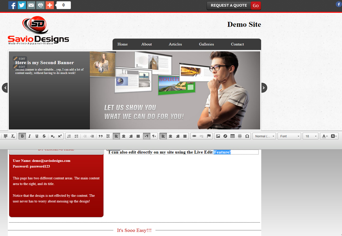 Savio Designs PowerCMS Live Edit