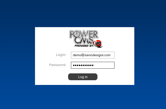 Savio Designs PowerCMS Login